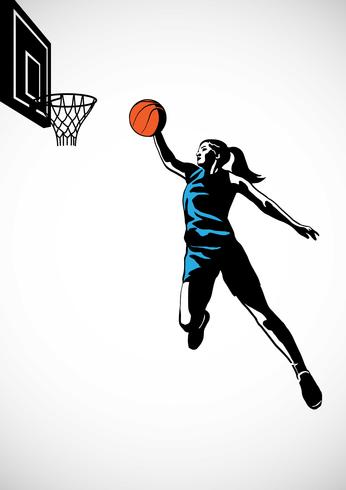 Female Basketball Player Slam Dunk Silhouette - Download Free Vector ... 0f5ec1229e