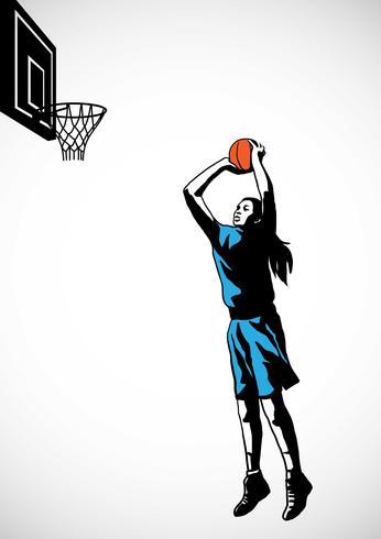 Jugador de baloncesto femenino silueta tiro de salto