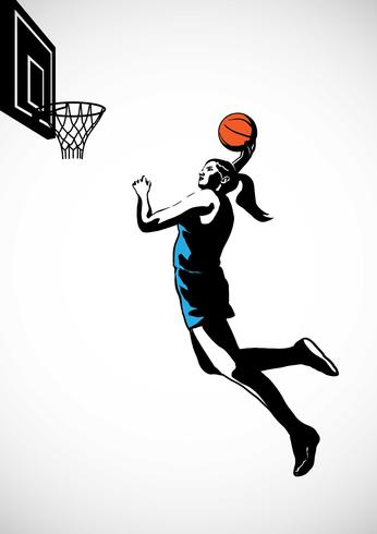 Kvinna Basketball Player Silhouette Action