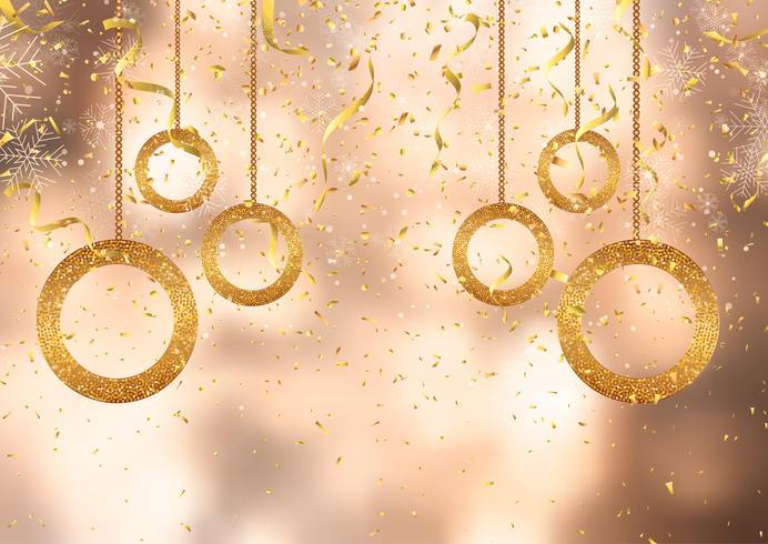 Weihnachtshintergrund mit Goldkonfetti und -dekorationen