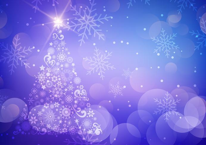 Fondo decorativo navideño con árbol y copos de nieve. vector