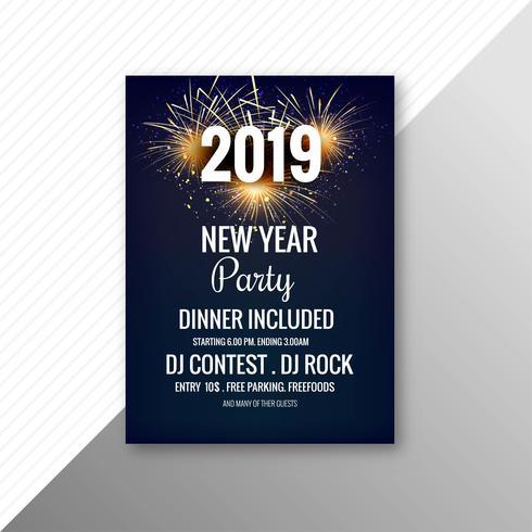 Elegante 2019 flyer celebrazione festa modello vettoriale