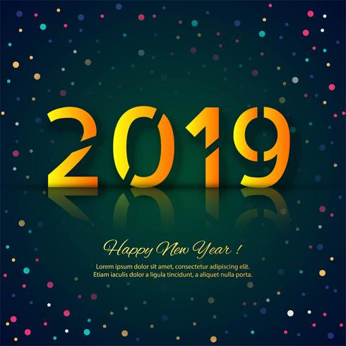 Fondo variopinto di celebrazione della carta del buon anno 2019 vettore