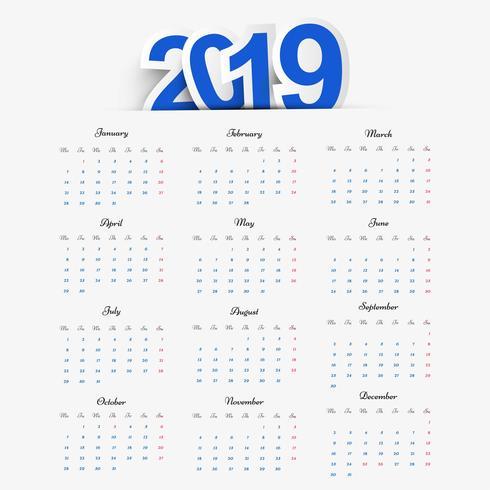 Vector de diseño de plantilla de calendario 2019