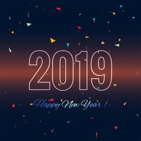 Feliz año nuevo 2019 celebración tarjeta fondo colorido vector