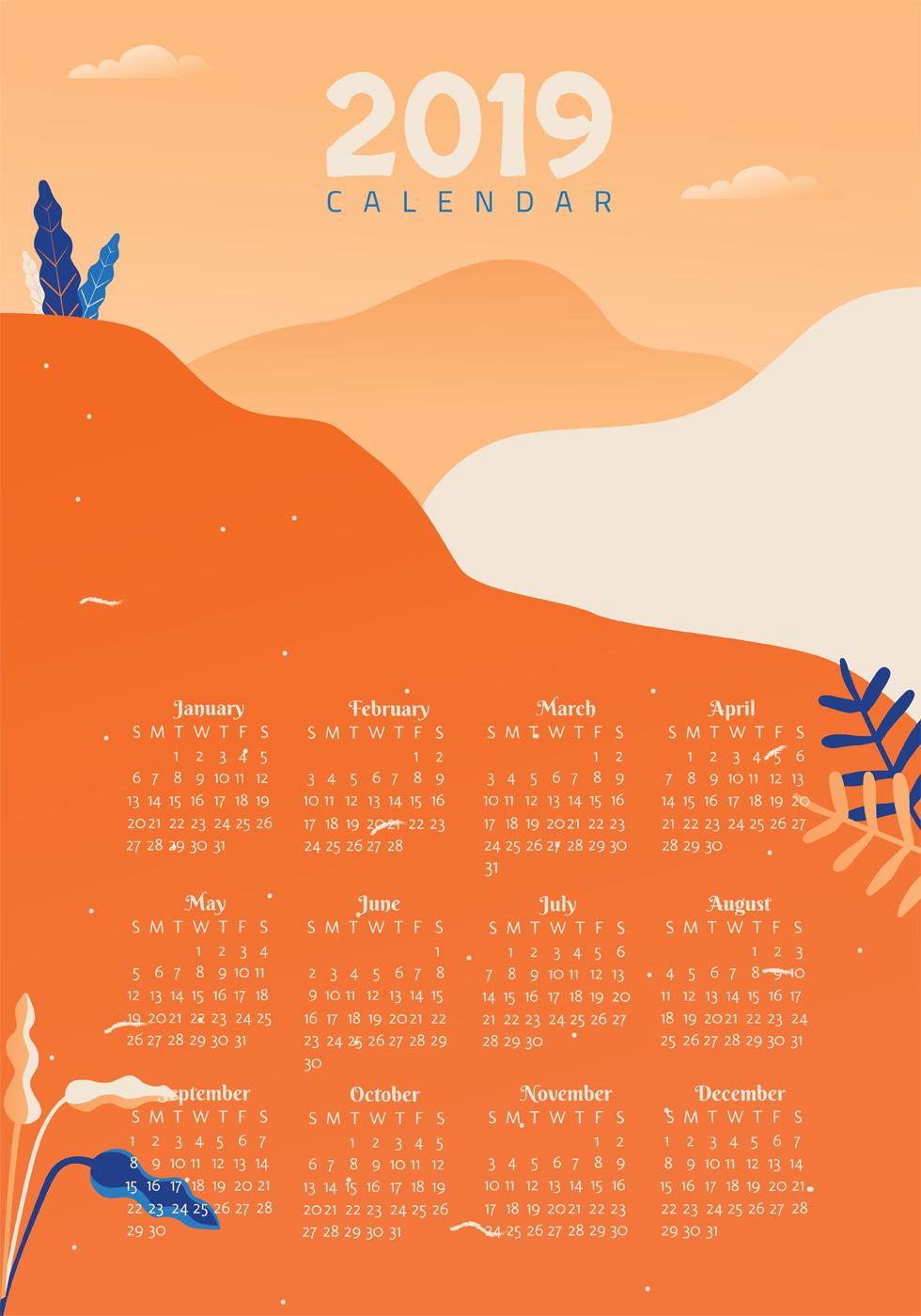 2019 printable calendar vector design