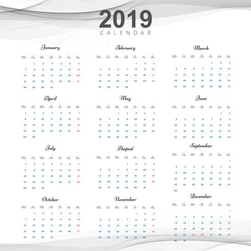 Bella progettazione del calendario aziendale 2019 vettore