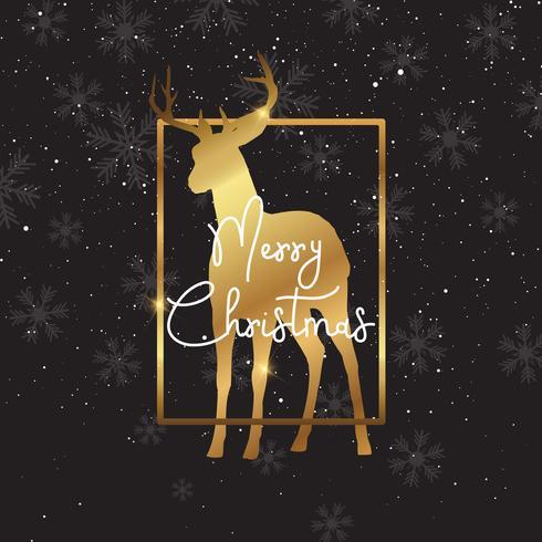 Fond de Noël avec la silhouette de cerf d'or