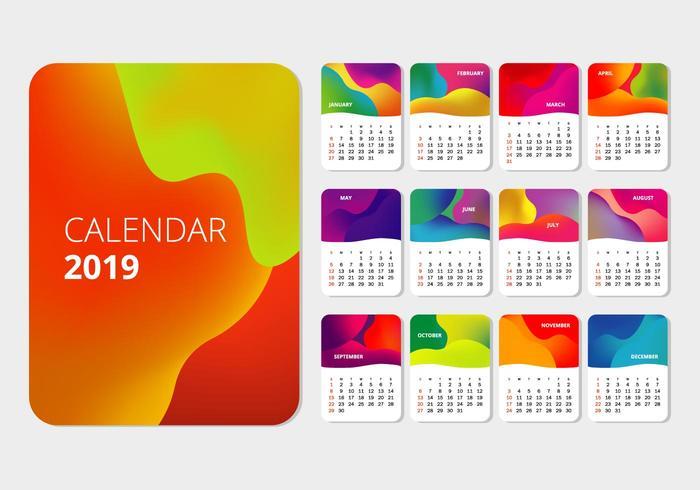 2019 Printable Calendar  vector