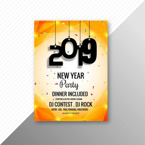 Modelo de design de celebração de folheto de festa de ano novo de 2019