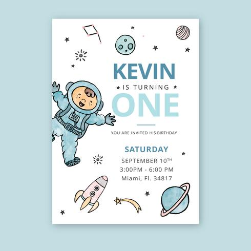 Carino Kid And Universe con pianeti Birthday Card
