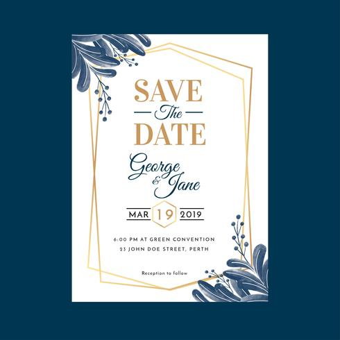 Aquarel geometrische bloemen bruiloft uitnodiging sjabloon