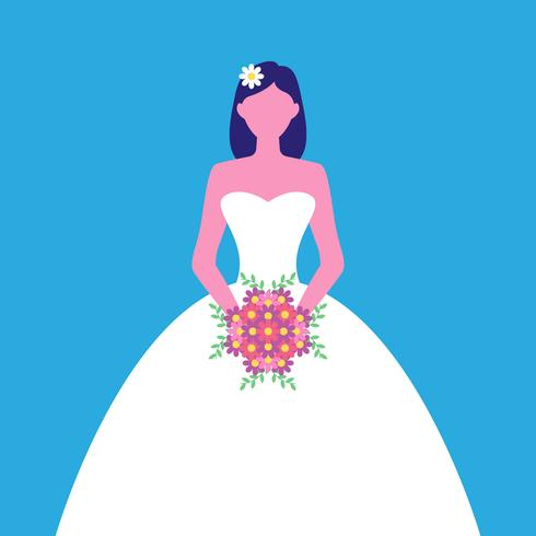 Bride With Flower Bouquet Vector Illustration