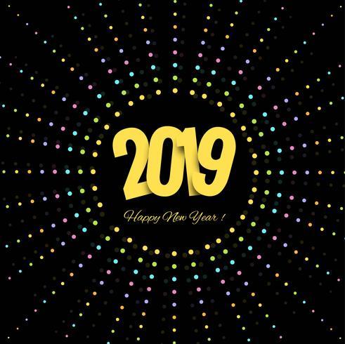 2019 feliz año nuevo texto colorido fondo brillante vector