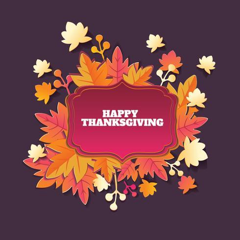 Acción de gracias de papel artesanal con fondo de hojas de otoño vector