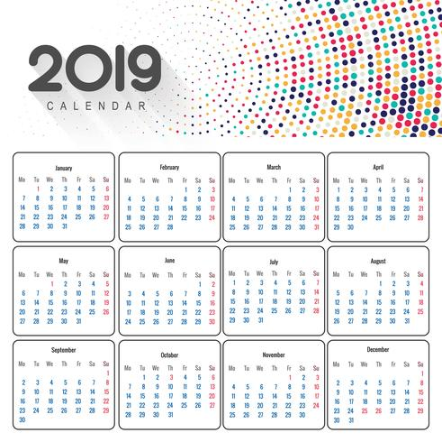 Hermoso diseño de calendario de negocios 2019