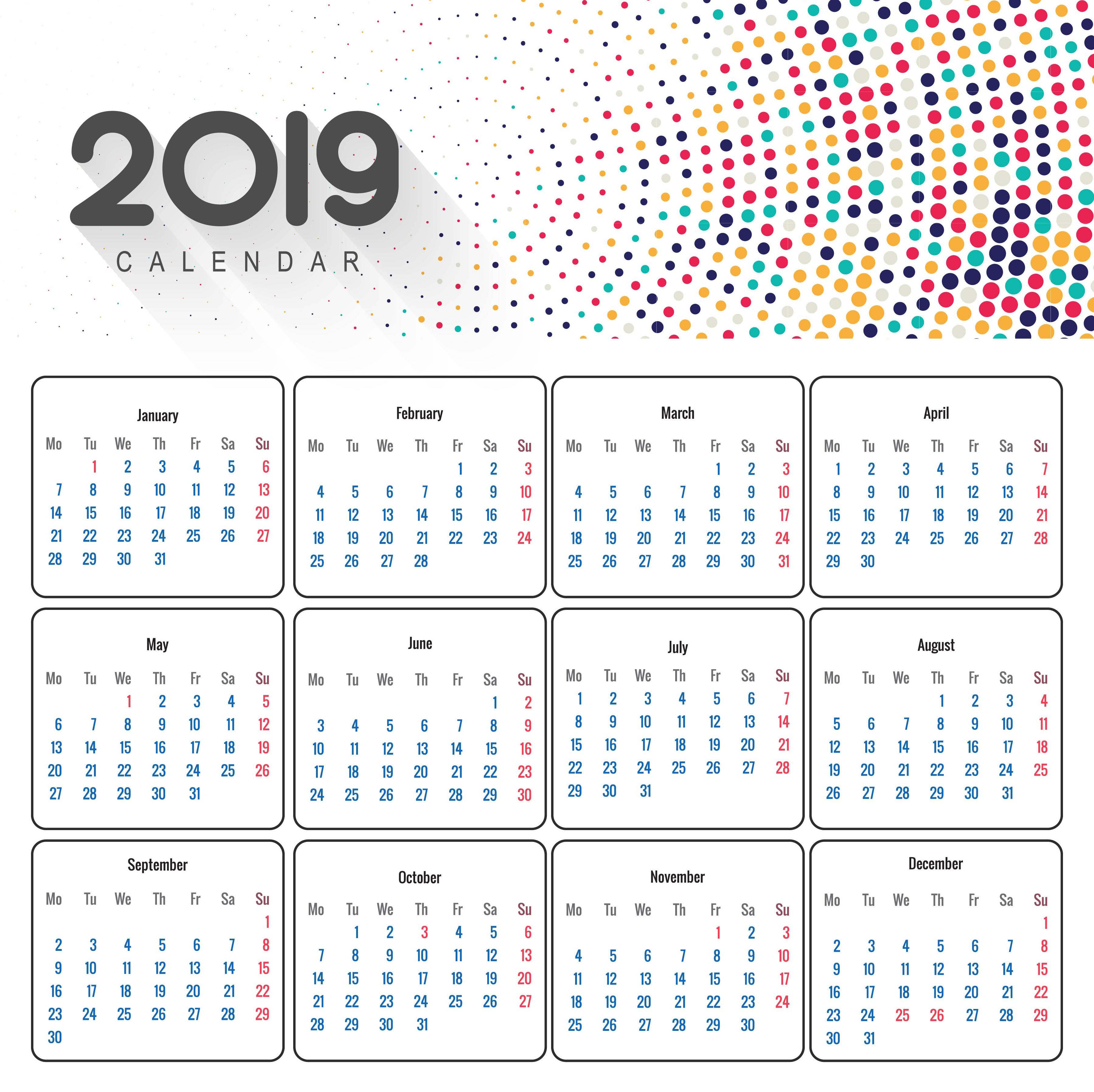 2019: Beautiful 2019 Business Calendar Design