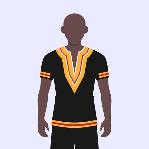 African Young Guy Dressed In A National Dashiki Costume Illustration vector