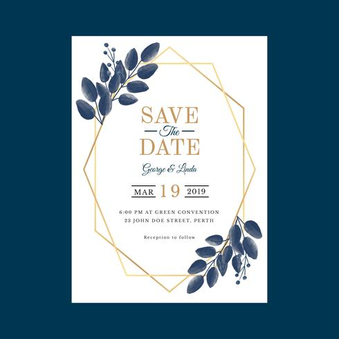 4b136dedbc235 Geometric Watercolor Wedding Invitation Template Vector - Download ...