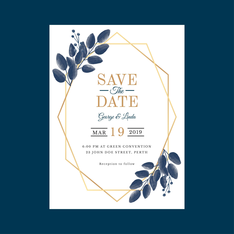 Geometric Watercolor Wedding Invitation Template Vector ...