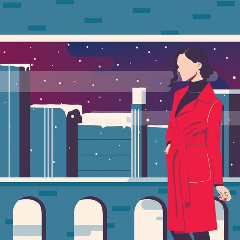Portrait de femme en hiver Vector Design