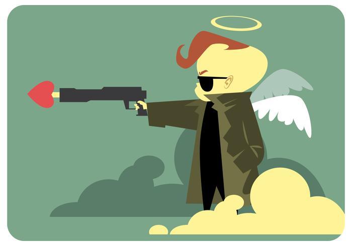 Cupido con amor arma vector