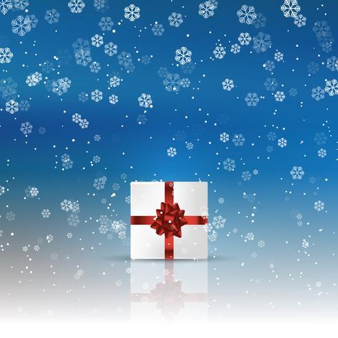 Kerstcadeau op besneeuwde achtergrond