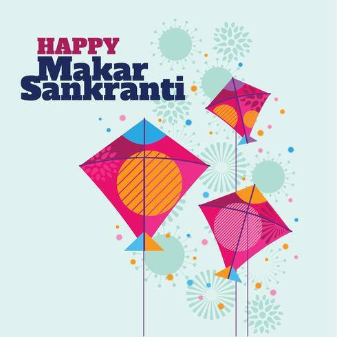 Vier Makar Sankranti-achtergrond met Kleurrijke Vliegers