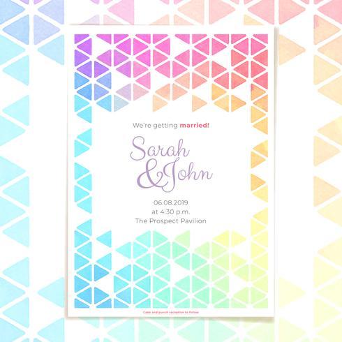 Uitnodiging voor bruiloft met geometrische aquarel Frame sjabloon