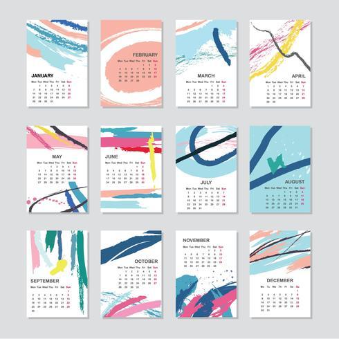Abstract 2019 Printable Calendar
