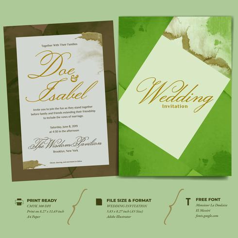 Doppelte Seitenschablone der Hochzeits-Einladung mit einfachem geometrischem Aquarell-Rahmen
