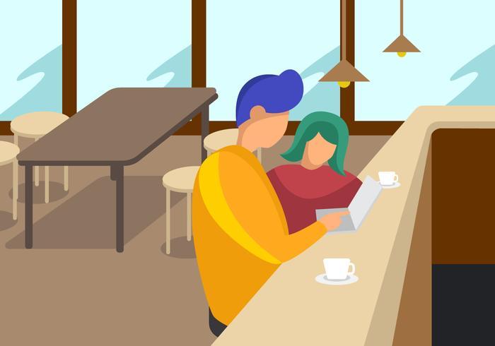 Uitstekende koffieshopvergaderingen vector