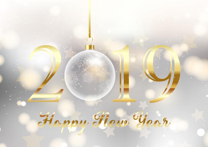 Gold and silver Happy New Year background
