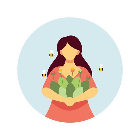 Meisje met bloemen illustratie