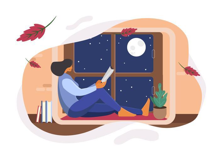 Mädchen Readng-Buch in der Fenster-Vektor-Illustration