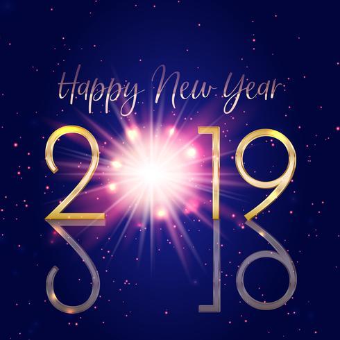 Gelukkige Nieuwjaarachtergrond met bokehlichten en starburst