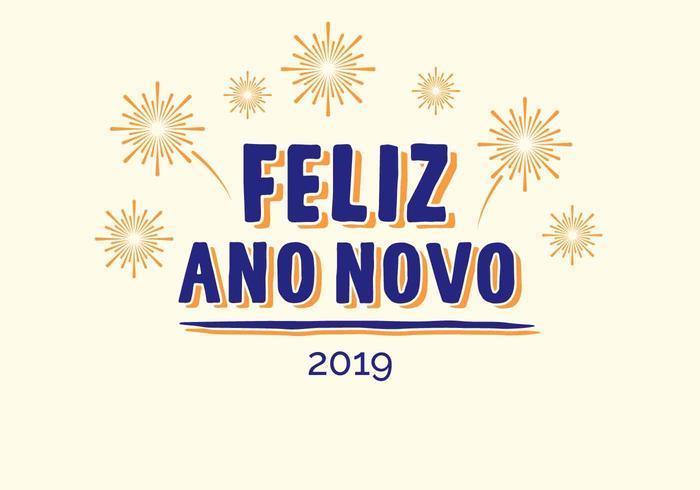 Feliz Ano Novo Hand belettering Vector