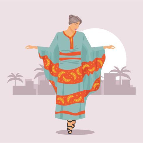 Frau mit dem luxuriösen Kaftan-traditionellen weiblichen Kleid