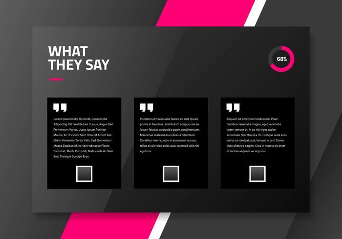 Donkere testimonial pagina-interface ontwerpsjabloon