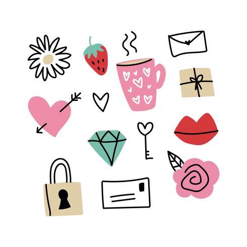 Kleurrijke set van Valentine Doodles