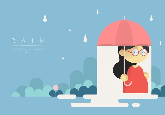 Meisje met paraplu met Scandinavische grafische stijl vector