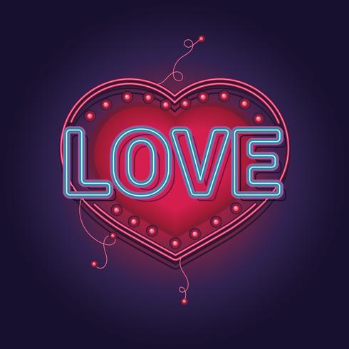 Neonzeichen die Wort-Liebe mit Herzhintergrund