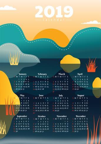 Design de vetor de calendário de impressão de 2019