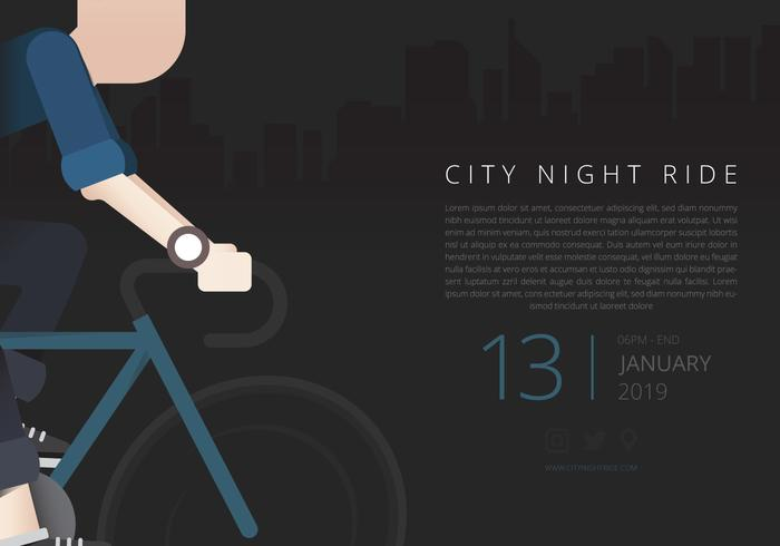 Health Lifestyle Flyer. City Night Ride. Bicyclist Event.