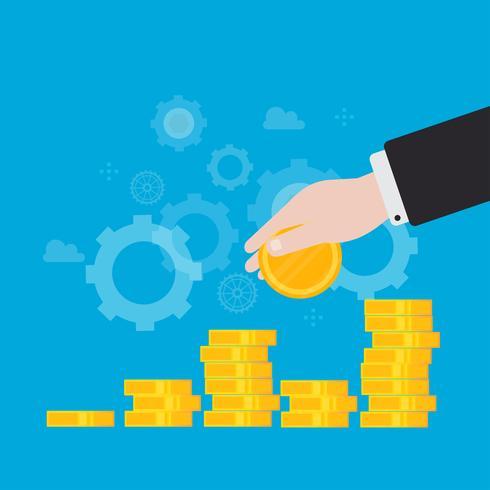 Investimenti finanziari, crescita finanziaria, aumento delle entrate, progettazione piana dell'illustrazione di vettore della gestione di bilancio