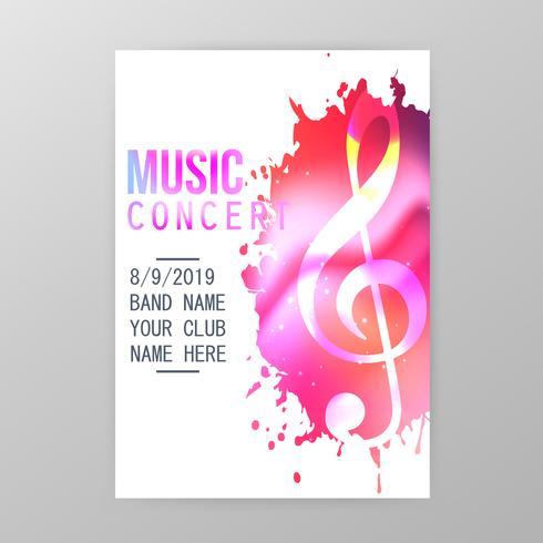 Musikkonzertplakat, Farbe plätschern Parteifliegerschablonen-Vektorillustration