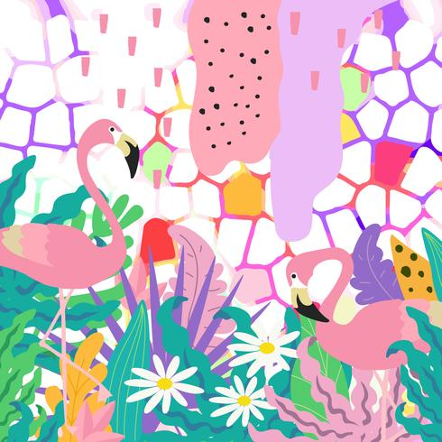 Tropischer Dschungel verlässt Hintergrund mit Flamingos. Tropische Blumen Poster Design