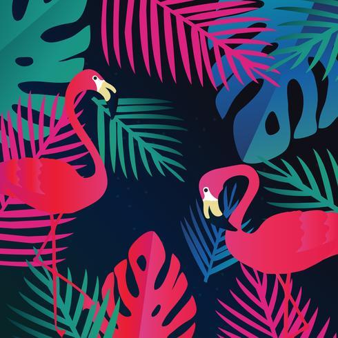 Tropiska djungelbladen med flamingos bakgrund vektor