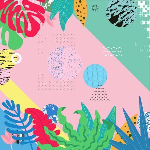La selva tropical sale del fondo. Diseño de cartel tropical