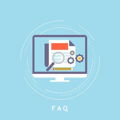 Concept de FAQ, questions fréquemment posées, assistance client et support client
